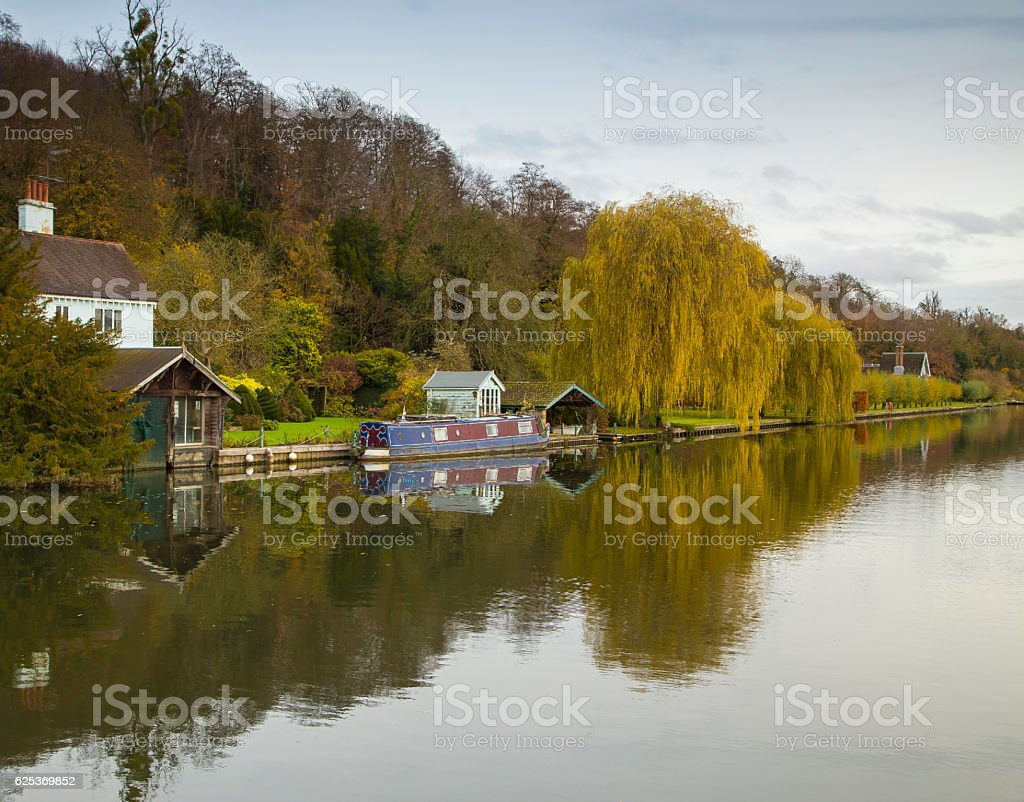 Willow Tree By The Boathouse stock photo