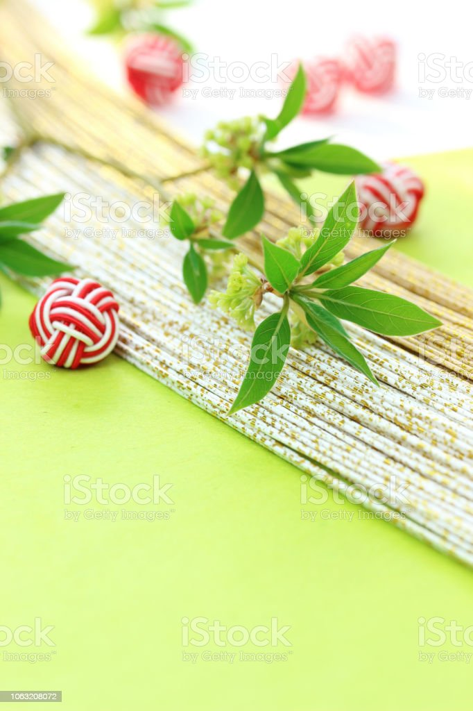 willow twigs and mizuhiki (Japanese images) stock photo