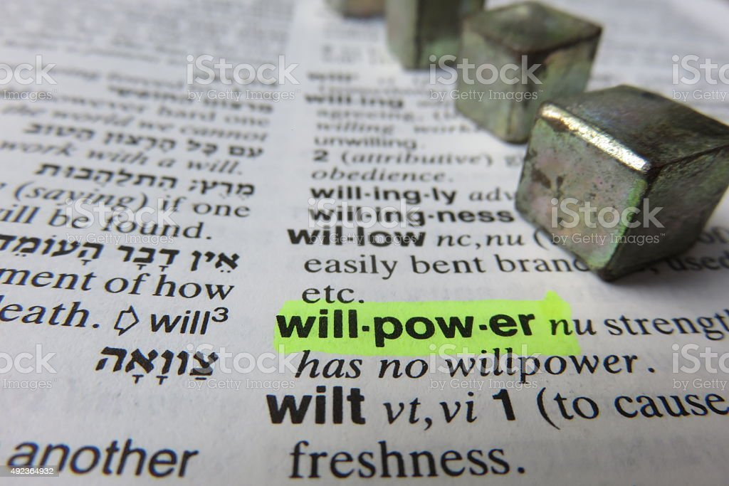 Willpower - dictionary definition stock photo