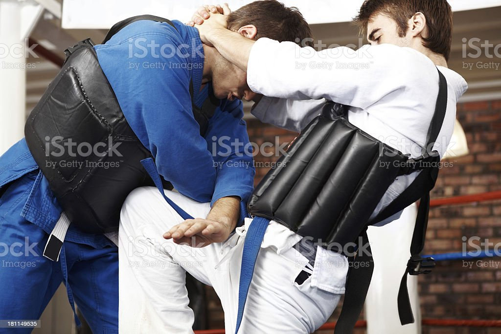 Willpower strong enough to prevail - Double block stock photo