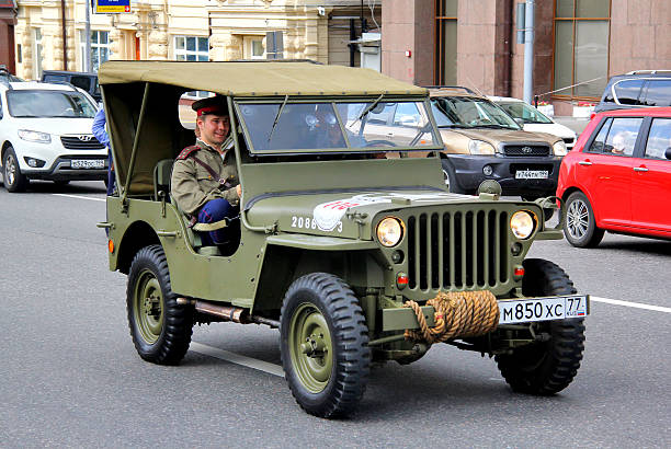Willys MB Moscow, Russia - June 2, 2013: American command car Willys MB competes at the annual L.U.C. Chopard Classic Weekend Rally willys stock pictures, royalty-free photos & images