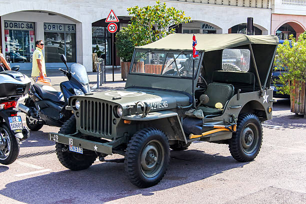Willys MB La Condamine, Monaco - August 2, 2014: American command car Willys MB is parked in the city street. willys stock pictures, royalty-free photos & images