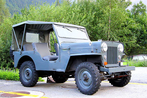 Willys MB Valais, Switzerland - August 5, 2014: American command car Willys MB parked in the small Apline village. willys stock pictures, royalty-free photos & images