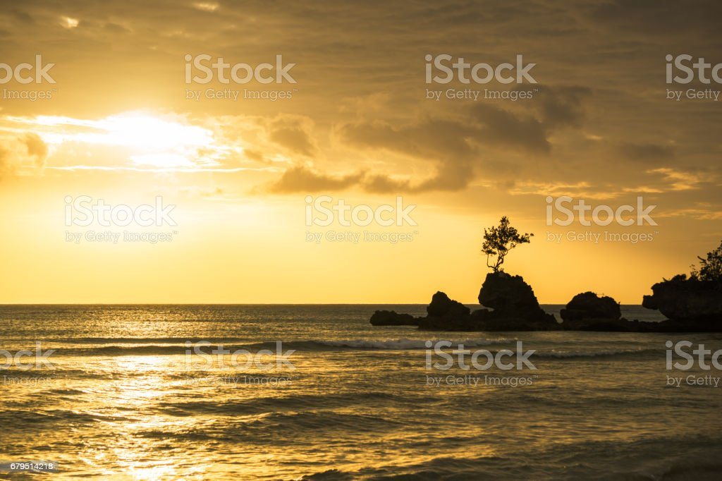 Willy's rock on Boracay's white beach royalty-free stock photo