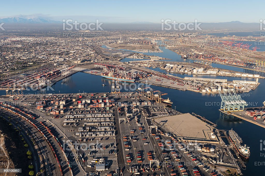Wilmington and the Port of Los Angeles stock photo