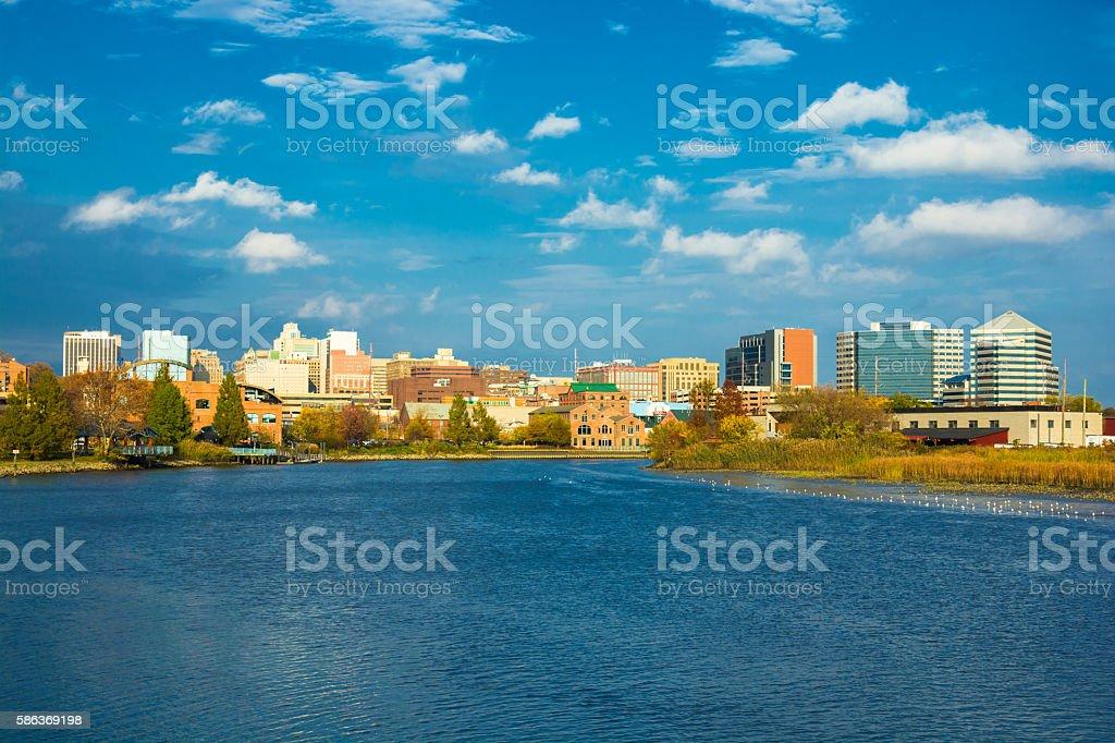 Wilmington, DE skyline and river stock photo