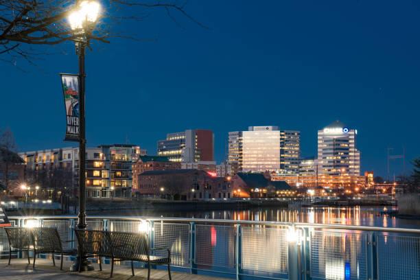 Wilmington, Delaware Skyline Along Christiana River at Night stock photo