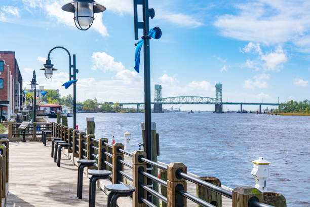 Wilmington, North Carolina Riverwalk stock photo