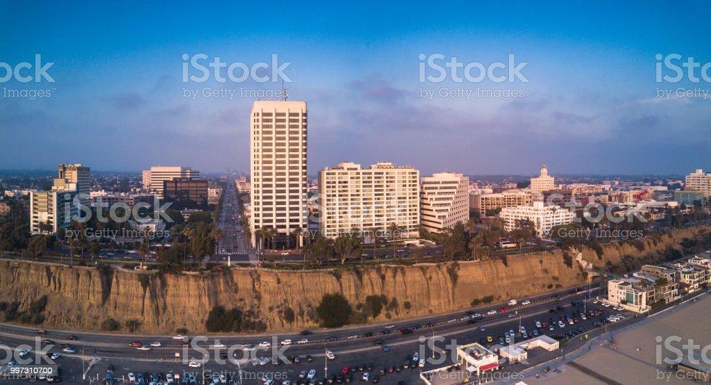 Wilshire and Ocean, Santa Monica, California - Aerial Panorama stock photo