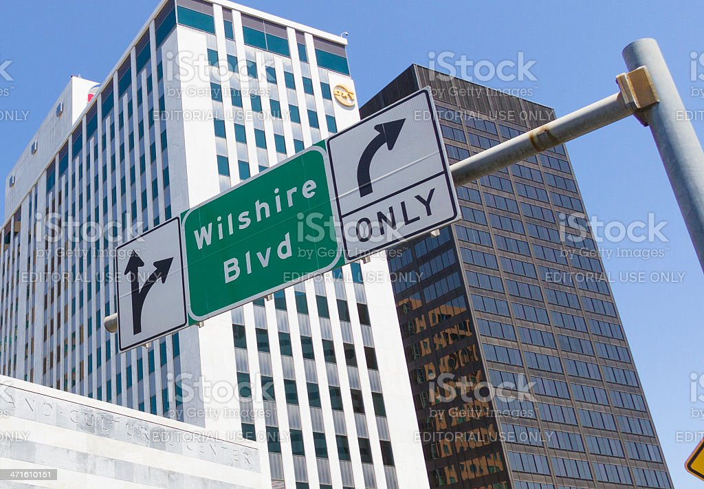 Wilshire Blvd in Los Angeles royalty-free stock photo