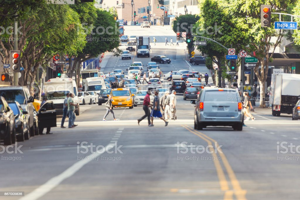 Wilshire Boulevard in Los Angeles stock photo