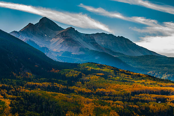 Wilson Peak in the fall, Uncompahgre National Forest, Colorado, San Juan Mountains. Landscape of Wilson Peak on an autumn afternoon san juan mountains stock pictures, royalty-free photos & images
