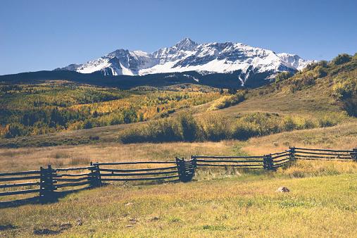 Majestic Mount Wilson in Southwest Colorado near Telluride during the peak of the autumn color season