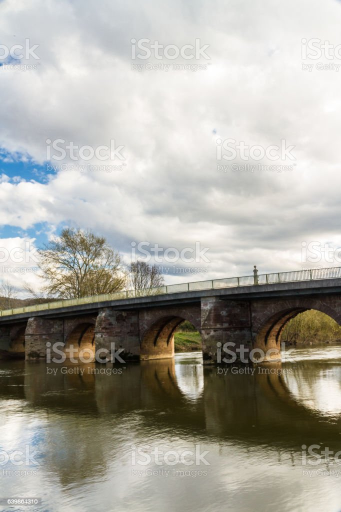 Wilton Bridge crossing River Wye near Ross on Wye. stock photo