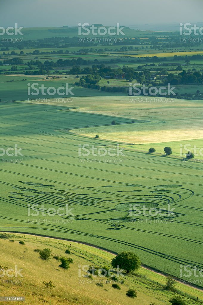 Wiltshire landscape with Crop Circle stock photo