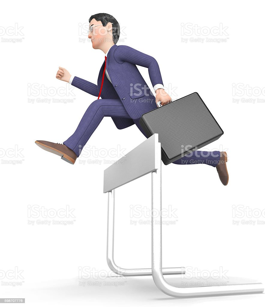 Win Businessman Represents Climb Over And Blocked 3d Rendering stock photo