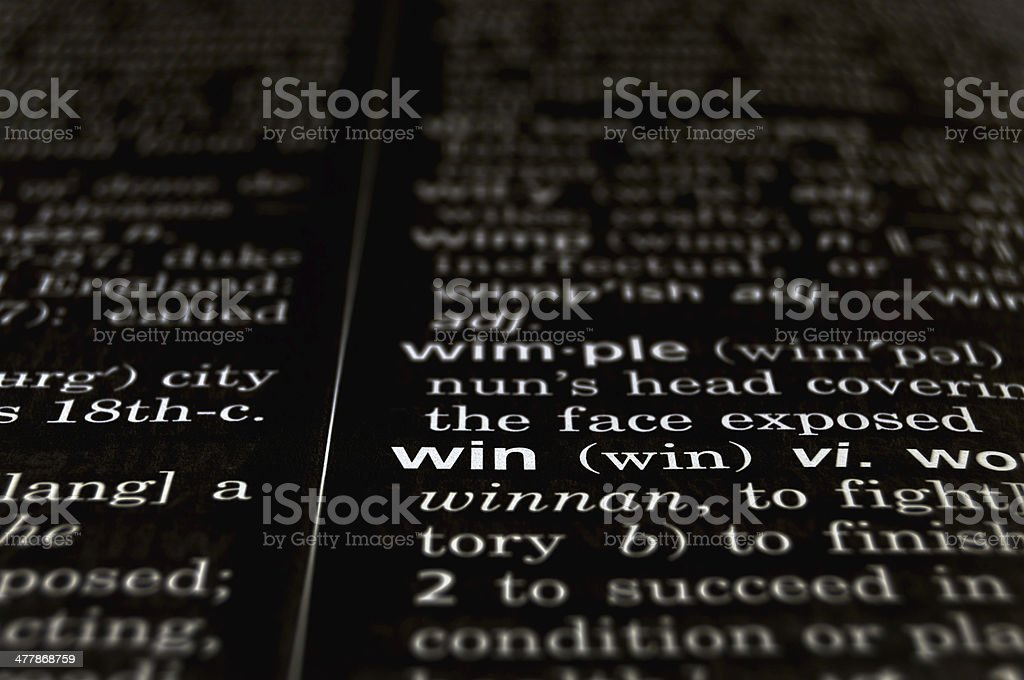 Win Defined on Black royalty-free stock photo