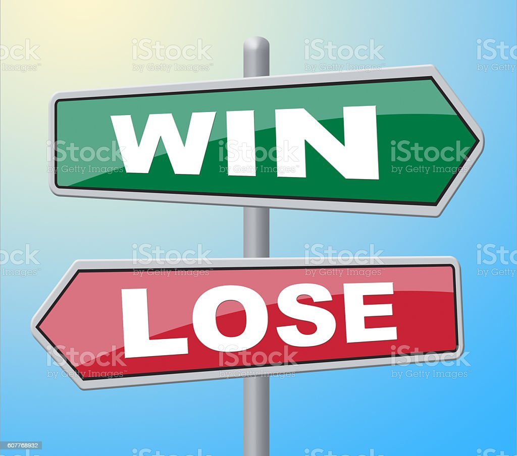 Win Lose Represents Failed Success And Advertisement stock photo