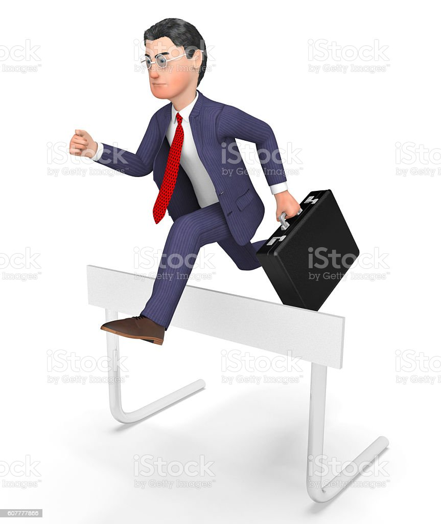 Win Overcome Indicates Chalenges Ahead And Barrier 3d Rendering stock photo