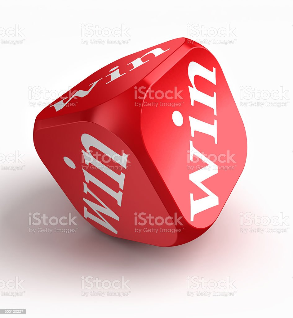 win red dice stock photo