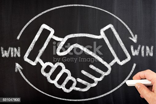 istock Win win strategy on chalkboard 531047800