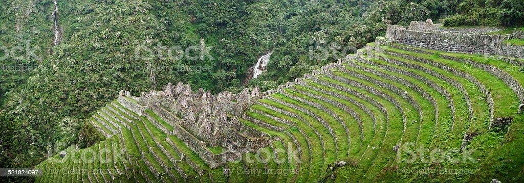 Winay Wayna ruin near Machu Picchu stock photo