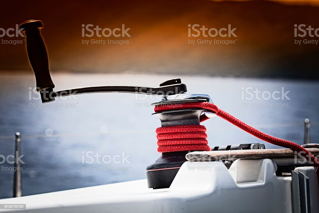 Winch and rope, yacht detail stock photo
