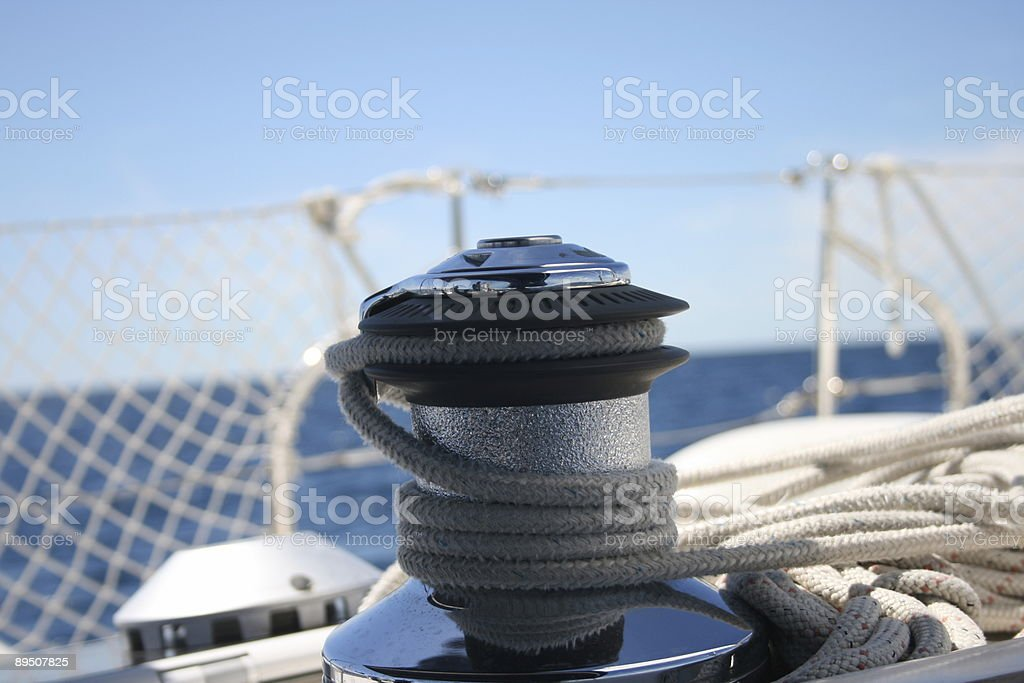 Winch and ropes royalty-free stock photo