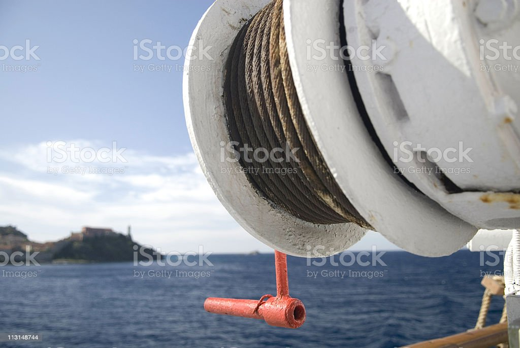 Winch on a Boat stock photo