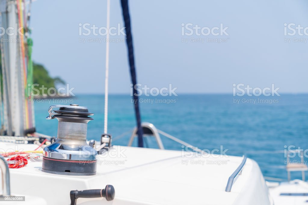 Winch on sailboat while sailing. zbiór zdjęć royalty-free