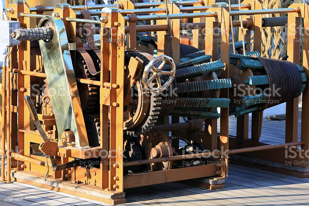 Winch on sailing ship stock photo