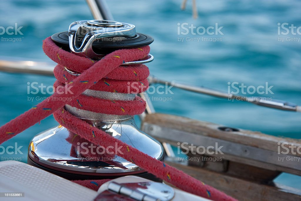 Winch on the yacht royalty-free stock photo
