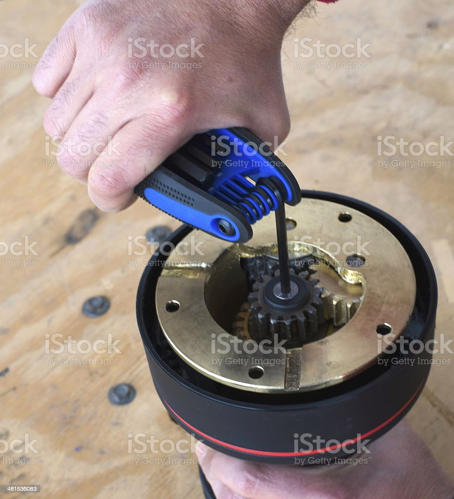 winch repair stock photo