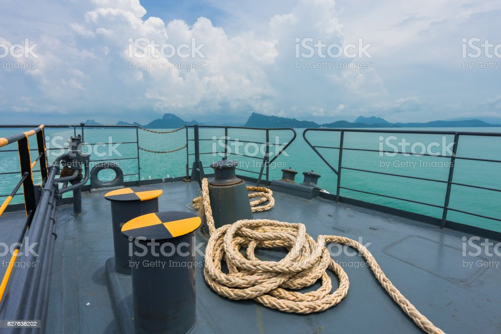 Winch with nautical equipment moored rope at the ocean stock photo