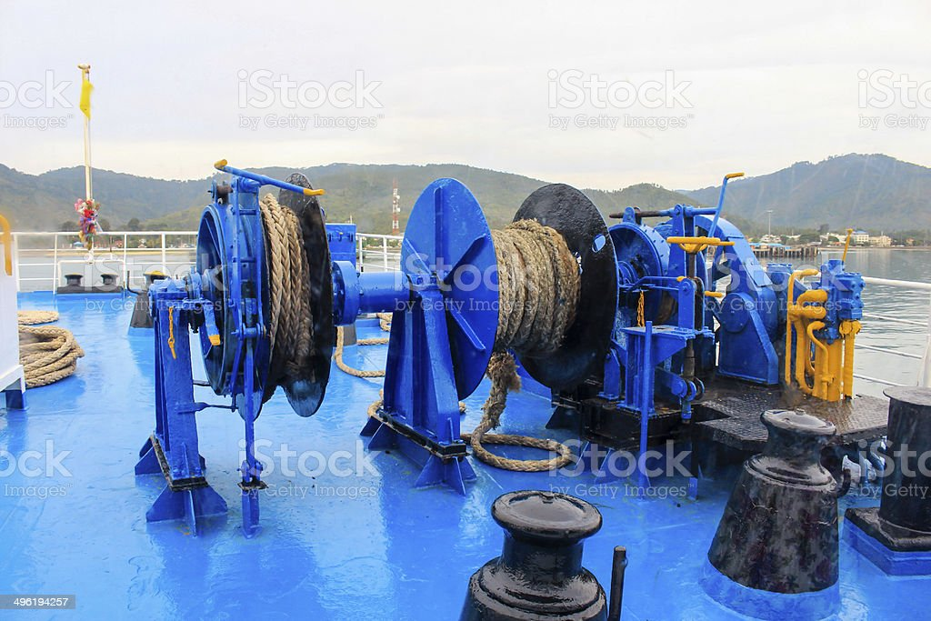 winch with rope anchor of ferry to samui stock photo
