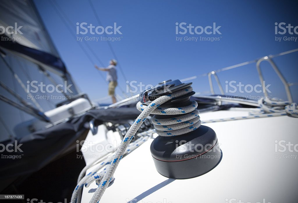 Winch with rope on sailboat stock photo