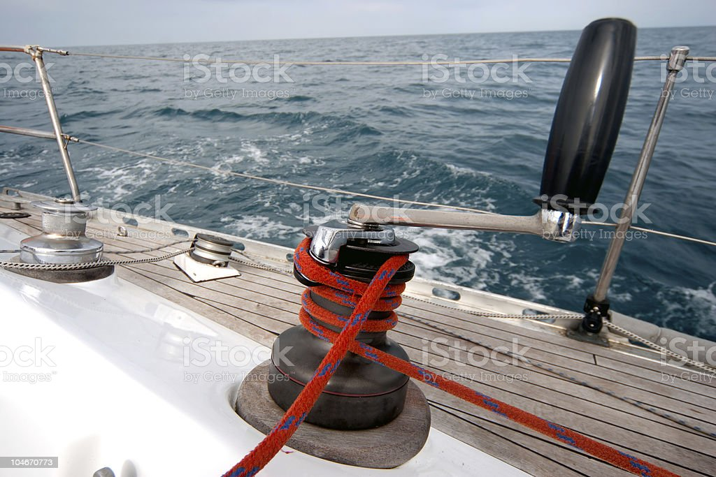 winch with rope on sailing boat royalty-free stock photo