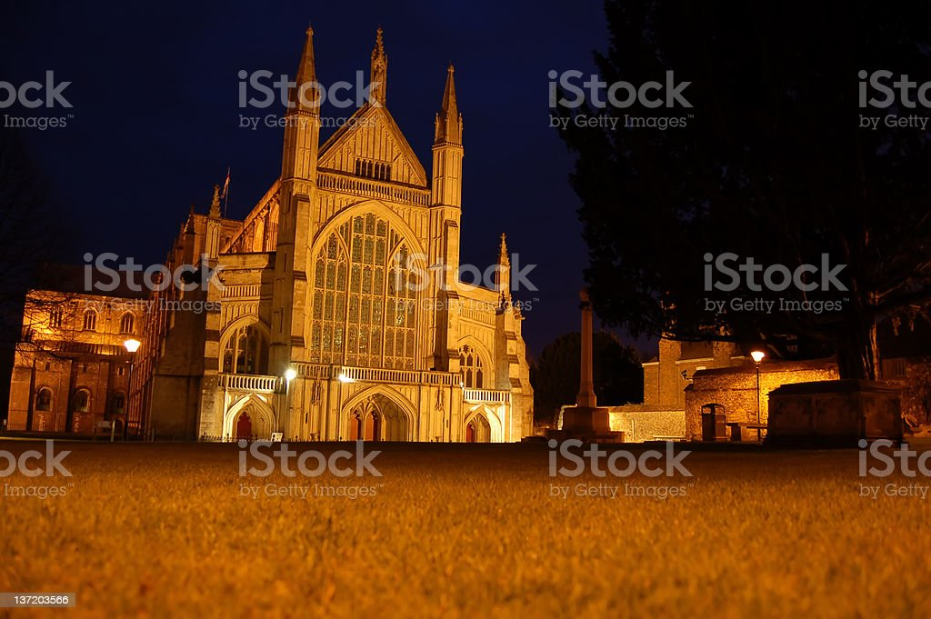 Winchester Cathedral at night stock photo