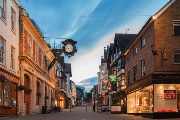 Winchester City centre at dusk on a warm summer's evening stock photo