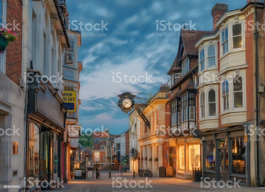 Winchester City centre in England stock photo