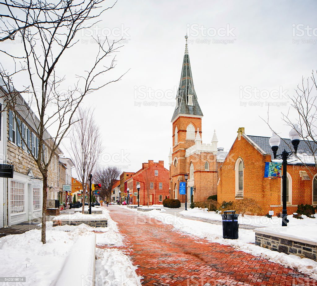 Winchester Virginia old town in Winter stock photo