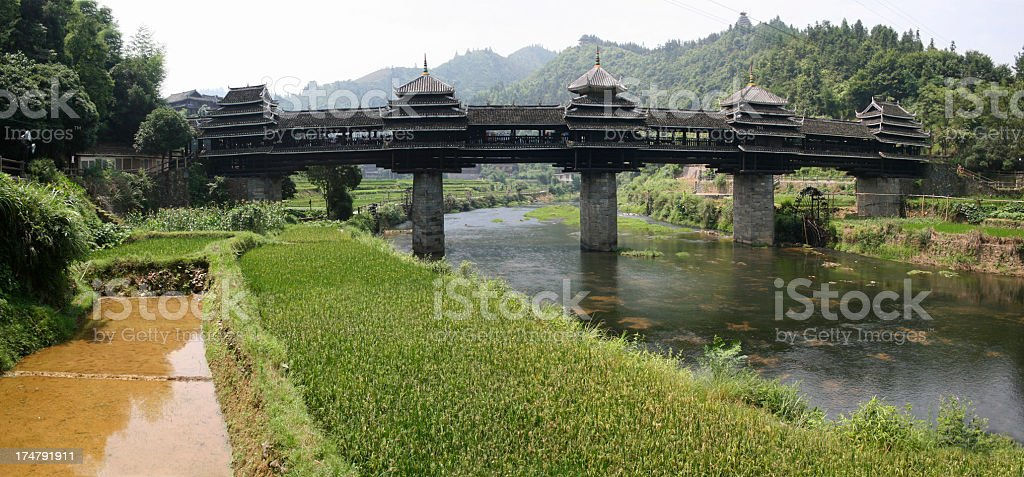 Wind and Rain Bridge in Sanjiang stock photo