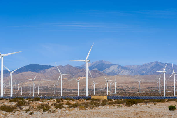 Wind and Solar Farm in the California Desert stock photo