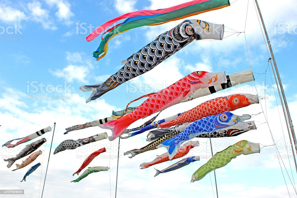 Wind blowers in the shape of carp stock photo