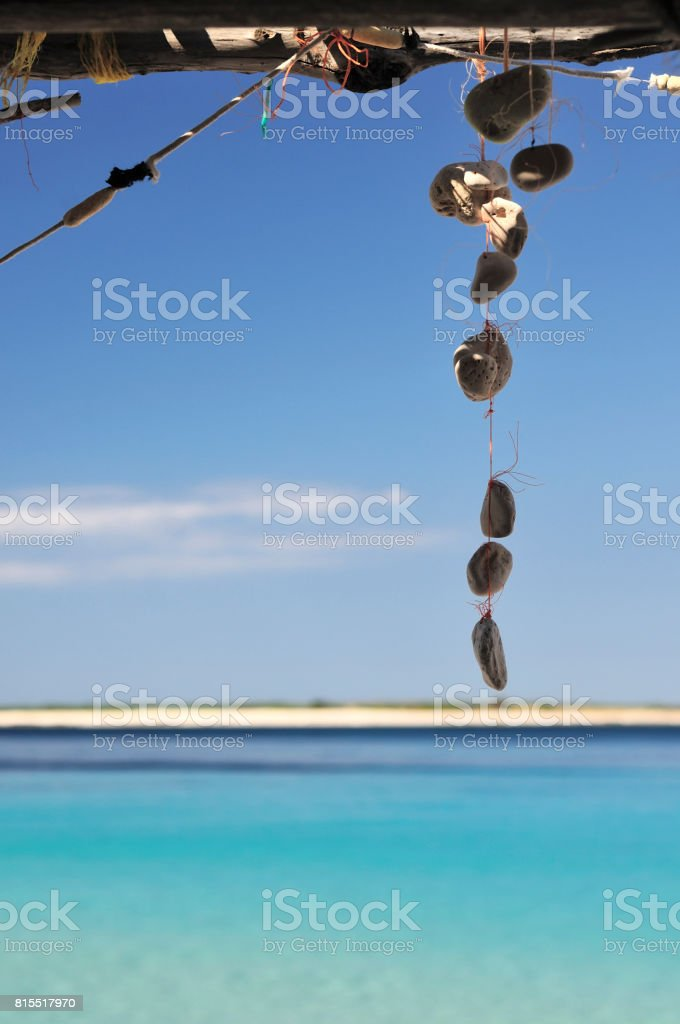 Wind Chime beach detail stock photo