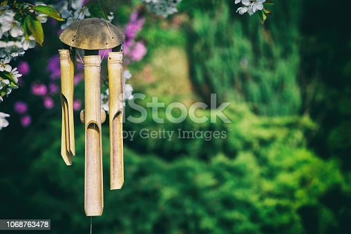 bamboo chimes in a garden