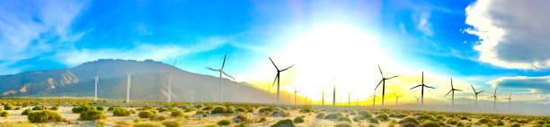 wind energy farm windmills turbines palm springs, ca samuel howell stock pictures, royalty-free photos & images