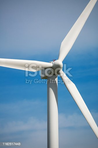Close-up shot of a wind energy turbine