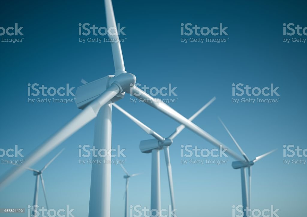 Wind energy turbines stock photo