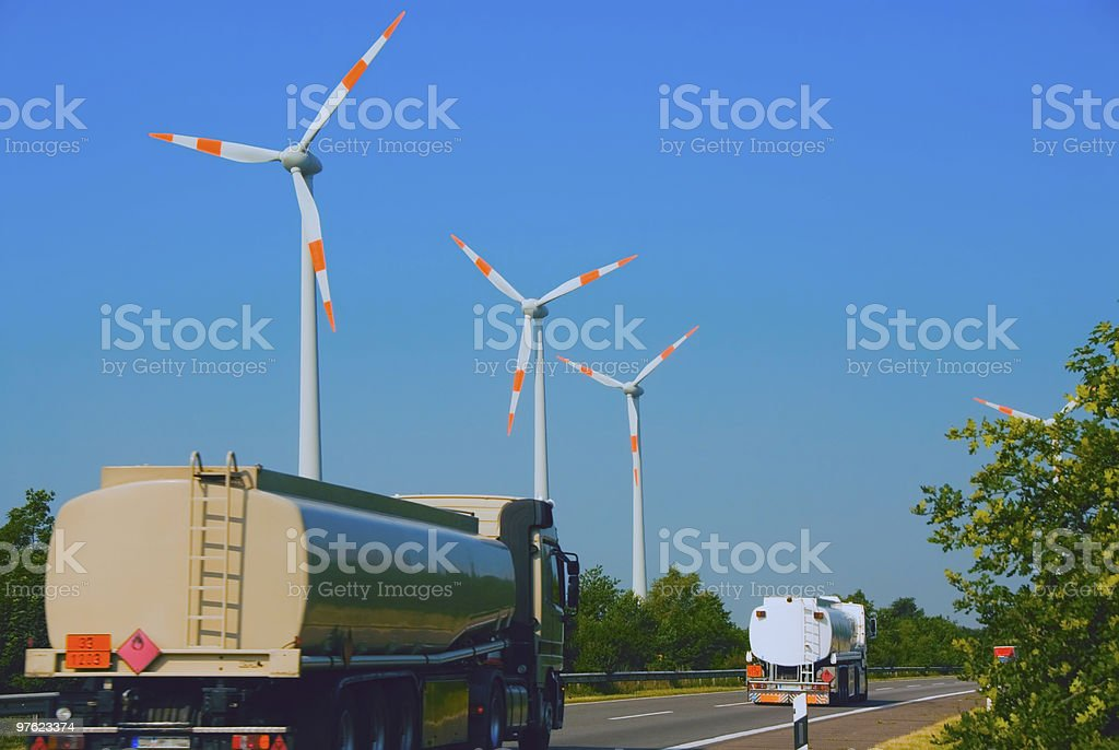 Wind Energy versus oil royalty-free stock photo